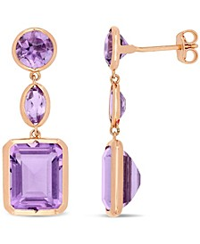 Amethyst (11-1/2 ct. t.w.) Link Earrings in 18k Rose Gold over Sterling Silver