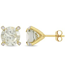 Blue Topaz (4-3/4 ct.t.w.) and Diamond Accent Stud Earrings in 10k White Gold(Also Available in Citrine, Garnet,& Prasiolite)