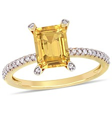 Citrine (1-1/2 ct.t.w.) and Diamond (1/10 ct.t.w.) Ring in 10k Yellow Gold