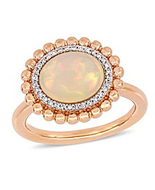 Opal (2-3/4 ct.t.w.) and Diamond (1/10 ct.t.w.) Halo Ring in 14k Rose Gold