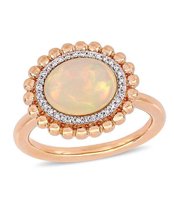 Macy's Opal (2-3/4 ct.t.w.) and Diamond (1/10 ct.t.w.) Halo Ring in 14k Rose Gold