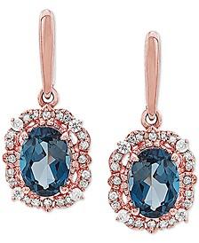 London Blue Topaz (1-7/8 ct. t.w.) & Diamond (1/5 ct. t.w.) Drop Earrings in 10k Rose Gold