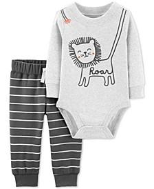 Baby Boys 2-Pc. Lion Bodysuit & Striped Jogger Pants Cotton Set