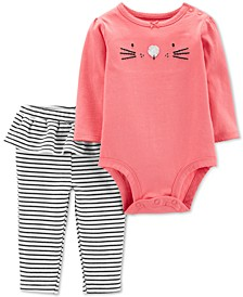 Baby Girls 2-Pc. Bunny Bodysuit & Ruffle Leggings Cotton Set