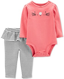 Carter's Baby Girls 2-Pc. Bunny Bodysuit & Ruffle Leggings Cotton Set