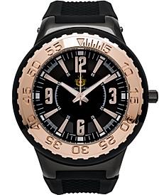 Pendragon Men's Watch Black Silicone Strap, Black Case, Black Dial, 53mm