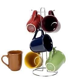 Cafe Amaretto 7 Piece Mug Set with Wire Rack