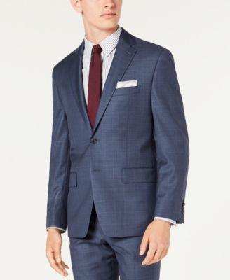 Men's Classic-Fit Airsoft Stretch Blue Windowpane Suit Jacket