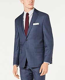 Men's Classic-Fit Airsoft Stretch Blue Windowpane Suit Jacket