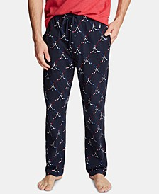 Men's Cotton Hockey-Print Pajama Pants