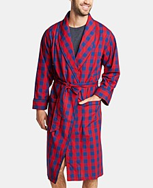 Men's Cotton Plaid Shawl Robe