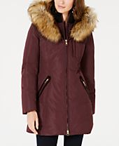 INC Front-Zip Faux-Fur Trim Hooded Puffer Coat, Created for Macy's