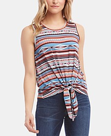 Sleeveless Printed Tie-Hem Top
