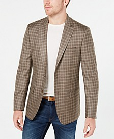 Men's Classic-Fit UltraFlex Stretch Tan Plaid Sport Coat