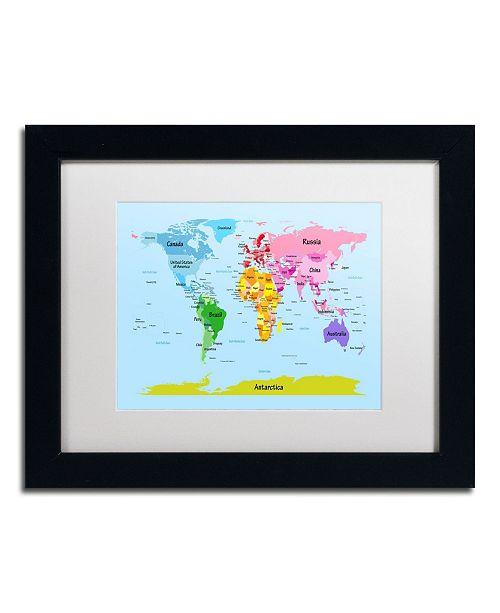 """Trademark Global Michael Tompsett 'World Map for Kids' Matted Framed Art - 14"""" x 11"""""""