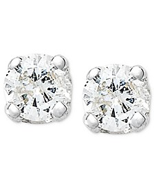 10k White Gold Earrings, Round-Cut Diamond Accent Stud Earrings