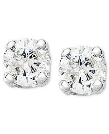 10k White Gold Earrings, Round-Cut Diamond Accent Stud Earrings