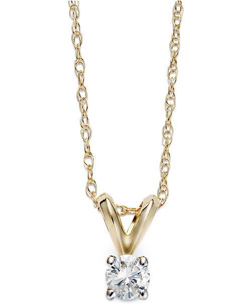 Round-Cut Diamond Pendant Necklace in 10k Gold (1/6 ct. t.w.)