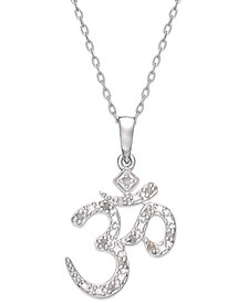 Diamond Om Pendant Necklace in Sterling Silver (1/10 ct. t.w.)