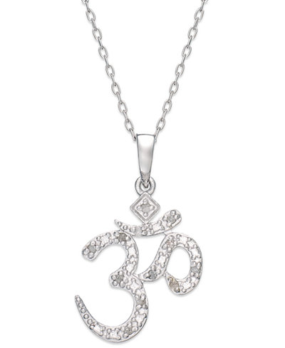 Diamond om pendant necklace in sterling silver 110 ct tw diamond om pendant necklace in sterling silver 110 ct tw mozeypictures Image collections