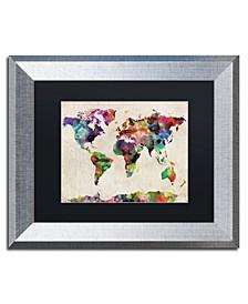"""Michael Tompsett 'Urban Watercolor World Map' Matted Framed Art - 11"""" x 14"""""""