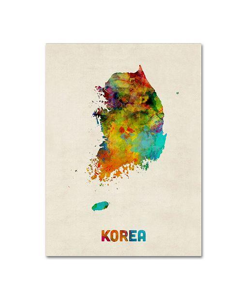 "Trademark Global Michael Tompsett 'Korea Watercolor Map' Canvas Art - 14"" x 19"""