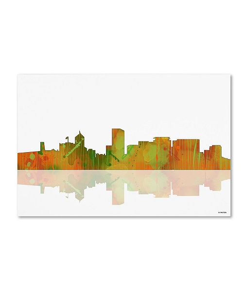 "Trademark Global Marlene Watson 'Portland Oregon Skyline II' Canvas Art - 12"" x 19"""