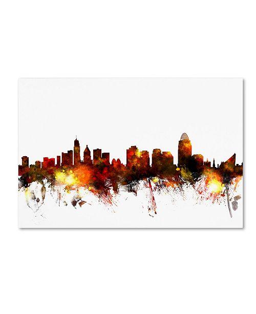 "Trademark Global Michael Tompsett 'Cincinnati Ohio Skyline III' Canvas Art - 12"" x 19"""