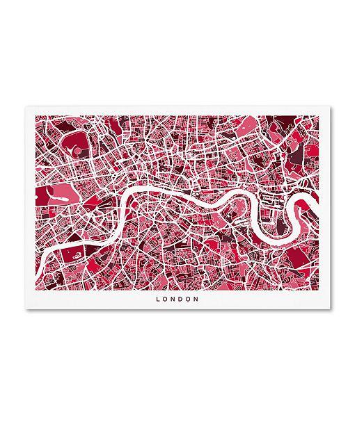 "Trademark Global Michael Tompsett 'London England Street Map 4' Canvas Art - 12"" x 19"""