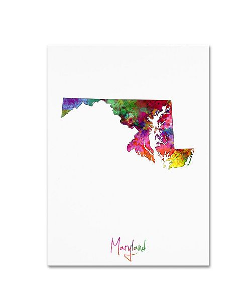 "Trademark Global Michael Tompsett 'Maryland Map' Canvas Art - 14"" x 19"""
