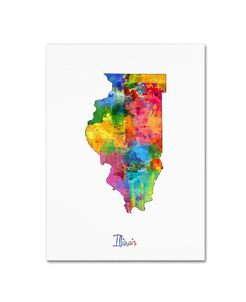 "Trademark Global Michael Tompsett 'Illinois Map' Canvas Art - 14"" x 19"""