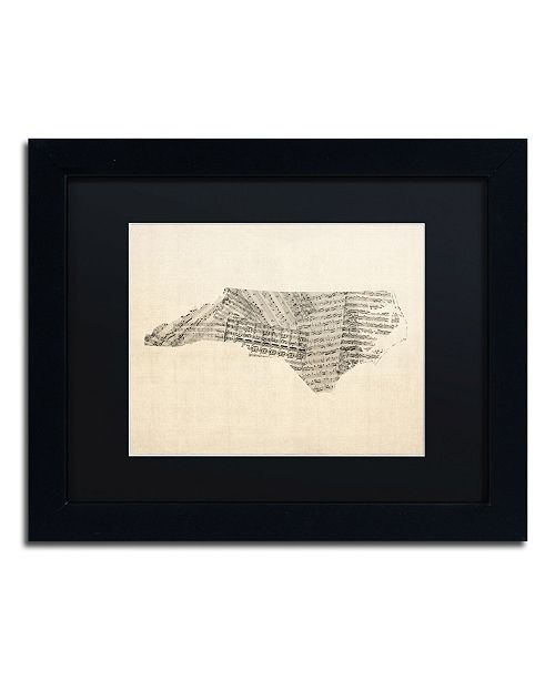 "Trademark Global Michael Tompsett 'Sheet Music Map of North Carolina' Matted Framed Art - 11"" x 14"""