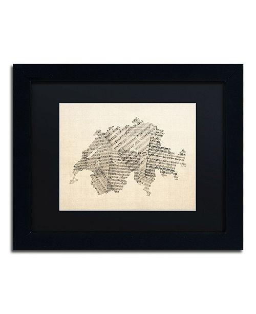 "Trademark Global Michael Tompsett 'Sheet Music Map of Switzerland' Matted Framed Art - 11"" x 14"""