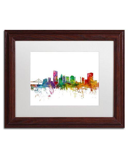 """Trademark Global Michael Tompsett 'Toledo Ohio Skyline' Matted Framed Art - 11"""" x 14"""""""