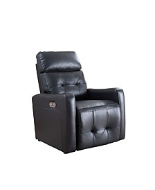 AC Pacific Anna Contemporary Upholstered Living Room Electric Recliner Power Chair with Adjustable Headrest