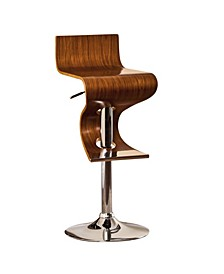 Contemporary Style Adjustable Swivel Bar Stool with Curved Seat and Back