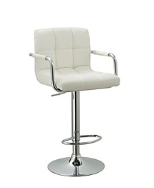 Contemporary Adjustable Swivel Arm Bar Stool with Cushion