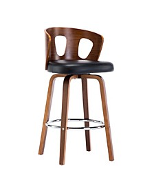 Faux Leather Mid-Century Modern Backless Swivel Barstool, Set of 2