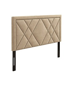 Contemporary Upholstered Tufted Nailhead Eastern King Headboard