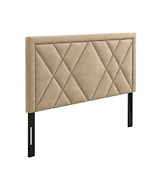 AC Pacific Contemporary Upholstered Tufted Nailhead Eastern King Headboard