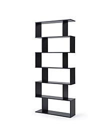 Modern Staggered 6-Shelf Luke Bookcase