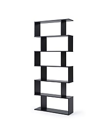 AC Pacific Modern Staggered 6-Shelf Luke Bookcase