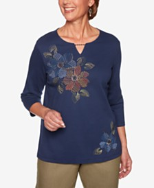 Alfred Dunner Petite Lake Tahoe Embroidered Top
