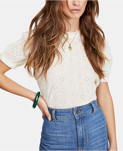 Free People Letters To Juliet Eyelet Cotton Tie-Back Top
