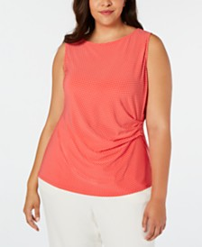 Anne Klein Plus Size Dot-Print Side-Gathered Top