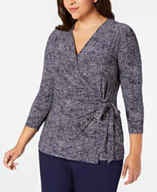 Anne Klein Plus Size Printed Tie-Side Top