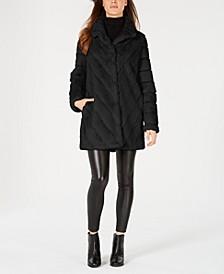 Chevron Faux-Fur Coat