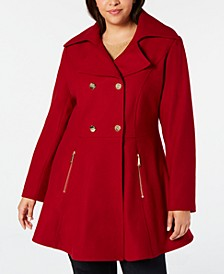 Plus Size Double-Breasted Skirted Coat