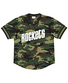 Mitchell & Ness Men's Houston Rockets Camo Mesh V-Neck Jersey Top
