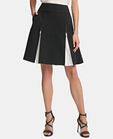 DKNY Zipper-Pleat A-Line Skirt